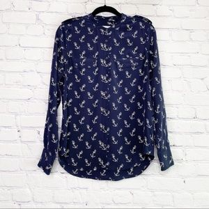 Equipment | Silk Anchor Button Down Blouse | M